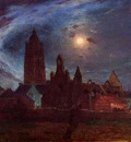 Puigaudeau Ferdinand du The Bourg de Batz Church under the Moon