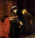 Roybet Ferdinand A Cavalier Lighting A Pipe