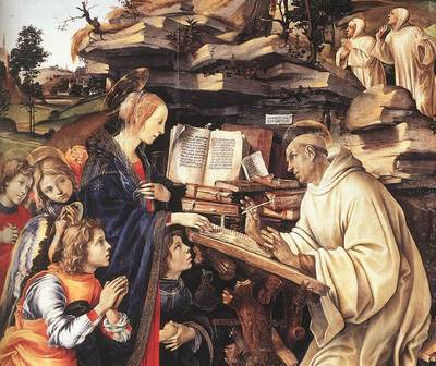 Lippi Filippino Apparition of The Virgin to St Bernard 1486 detail1