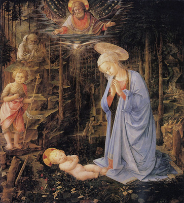 Lippi Filippino The adoration with the infant Baptist and St  Bernard