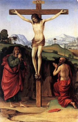 francia francesco crucifixion with sts john and jerome