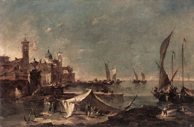 GUARDI Francesco Landscape with a Fishermans Tent