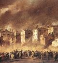 guardi francesco fire in the oil depot at san marcuola