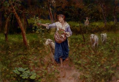 Michetti Francesco Paolo A Shepherdess In A Pastoral Landscape
