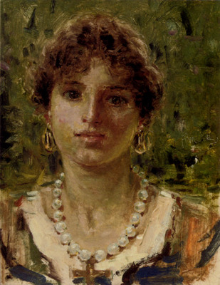 Michetti Francesco Paolo Portrait Of A Girl Waering A Pearl Necklace