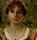 Michetti Francesco Paolo Portrait Of A Girl Waering A Pearl Necklace