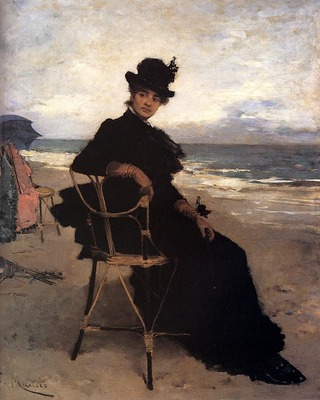 Miralles Francisco A Lady Seated On A Veranda