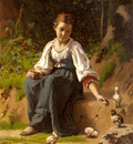 Delobbe Francois Alfred A Young Girl Feeding Baby Chicks