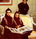 Flameng Francois Family Portrait Of A Boy And His Two Sisters