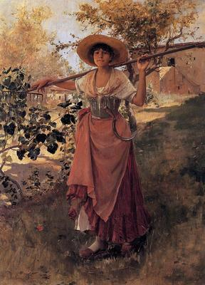 Duveneck Frank Girl with Rake