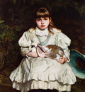 holl frank portrait of a young girl holding a pet rabbit