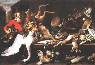 SNYDERS Frans Still Life With Dead Game Fruits And Vegetables In A market