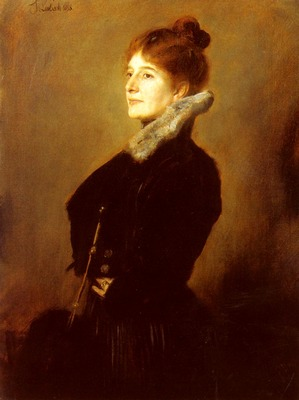 Lenbach Franz Von Portrait Of A Lady Wearing A Black Coat With Fur Collar