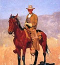 Remington Frederic Mounted Cowboy in Chaps with Race Horse