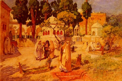 Bridgeman Frederick Arthur Arab Women at the Town Wall