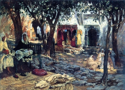 Bridgeman Frederick Arthur Idle Moments An Arab Courtyard