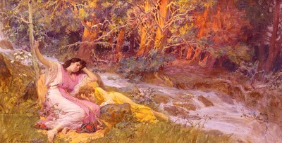 Bridgman Frederick Arthur Reclining By A Stream