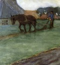 Frieseke Frederick C Man Plowing