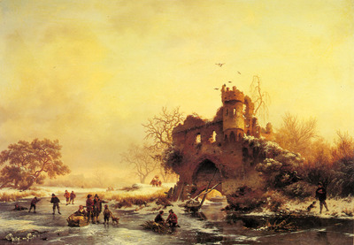 Kruseman Frederik Marianus Winter Landscape With Skaters On A Frozen River Beside Castle Ruins