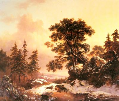 Kruseman Fredrik Marinus Wolves In A Winter Landscape