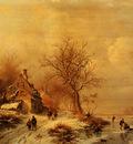 Kruseman Frederick Marianus Figures In A Frozen Winter Landscape