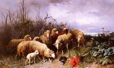 Gebler Friedrich Otto Schafe Eine Vogelscheuche Betrachtend