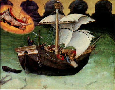 GENTILE DA FABRIANO Quaratesi Altarpiece Storm Tossed Ship