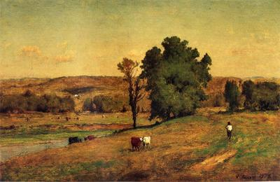 Inness George Landscape with Figure
