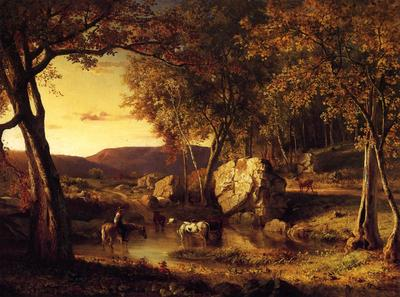 Inness George Summer Days Cattle Drinking Late Summer Early Autumn