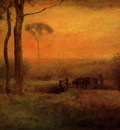 Inness George Pastoral Landscape At Sunset