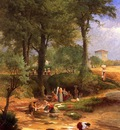 Inness George Washing Day near Perugia aka Italian Washerwomen