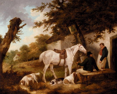 Morland George Travellers Resting Outside The Bell Inn