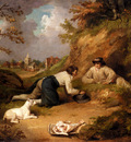 Morland George Two Men Hunting Rabbits With Their Dog A Village Beyond