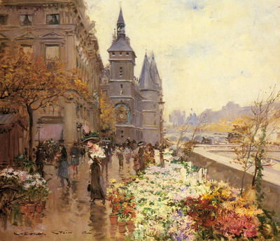 Stein Georges A Flower Market Along The Seine