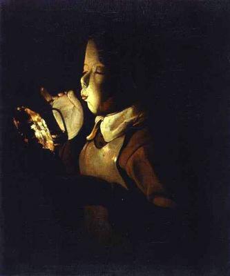 Boy Blowing at Lamp ABC