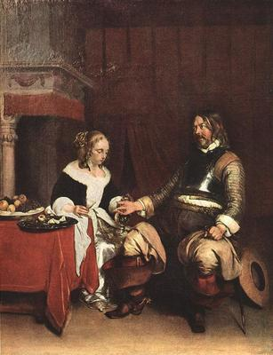 TERBORCH Gerard Man Offering A Woman Coins