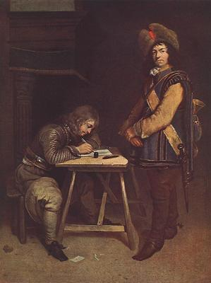 TERBORCH Gerard Officer Writing A Letter