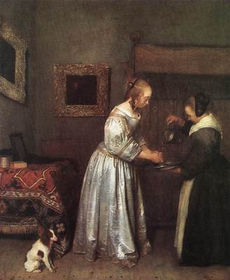 TERBORCH Gerard Woman Washing Hands