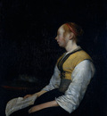 Borch II Gerard ter Girl in Peasant Costume  Probably Gesina the Painter s Half Sister