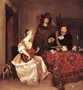 TERBORCH Gerard A Young Woman Playing A Theorbo To Two Men