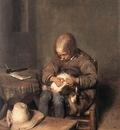 TERBORCH Gerard Boy Riding His Dog Of Fleas
