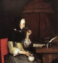 TERBORCH Gerard Woman Drinking Wine