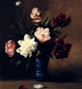 Ribot German Theodore Peonies In A Blue Vase