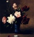 Ribot German Theodore Peonies In A Blue Vase