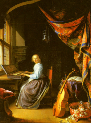 Dou Gerrit A Woman Playing A Clavichord