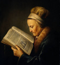 Dou Gerard Old Woman Reading a Lectionary