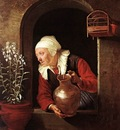 Old Woman Watering Flowers WGA