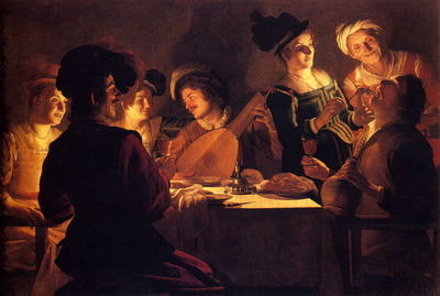 Honthorst Gerrit Van Supper With The Minstrel And His Lute