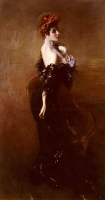 Boldini Giovanni Portrait Of madame Pages In Evening Dress