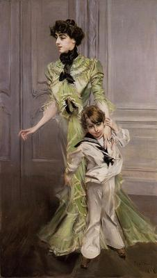 Boldini Giovanni Portrait of Madame Georges Hugo nee Pauleen Menard Dozian and Her Son Jean